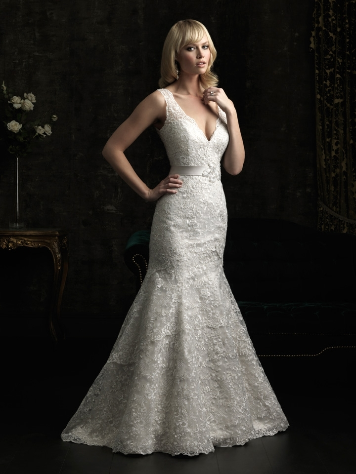 gorgeous 2013 wedding dress by Allure bridal gowns beaded lace mermaid