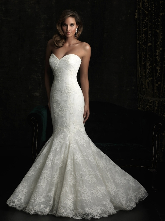 gorgeous 2013 wedding dress by Allure bridal gowns lace mermaid sweetheart