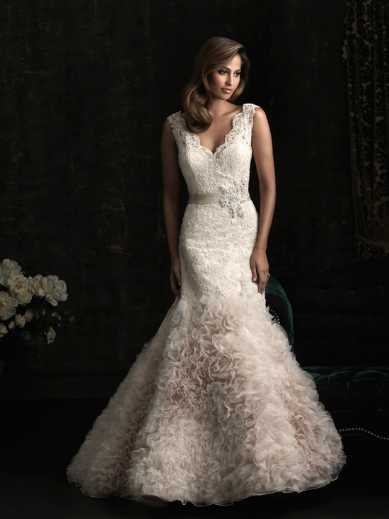 gorgeous 2013 wedding dress by Allure bridal gowns lace mermaid v neck