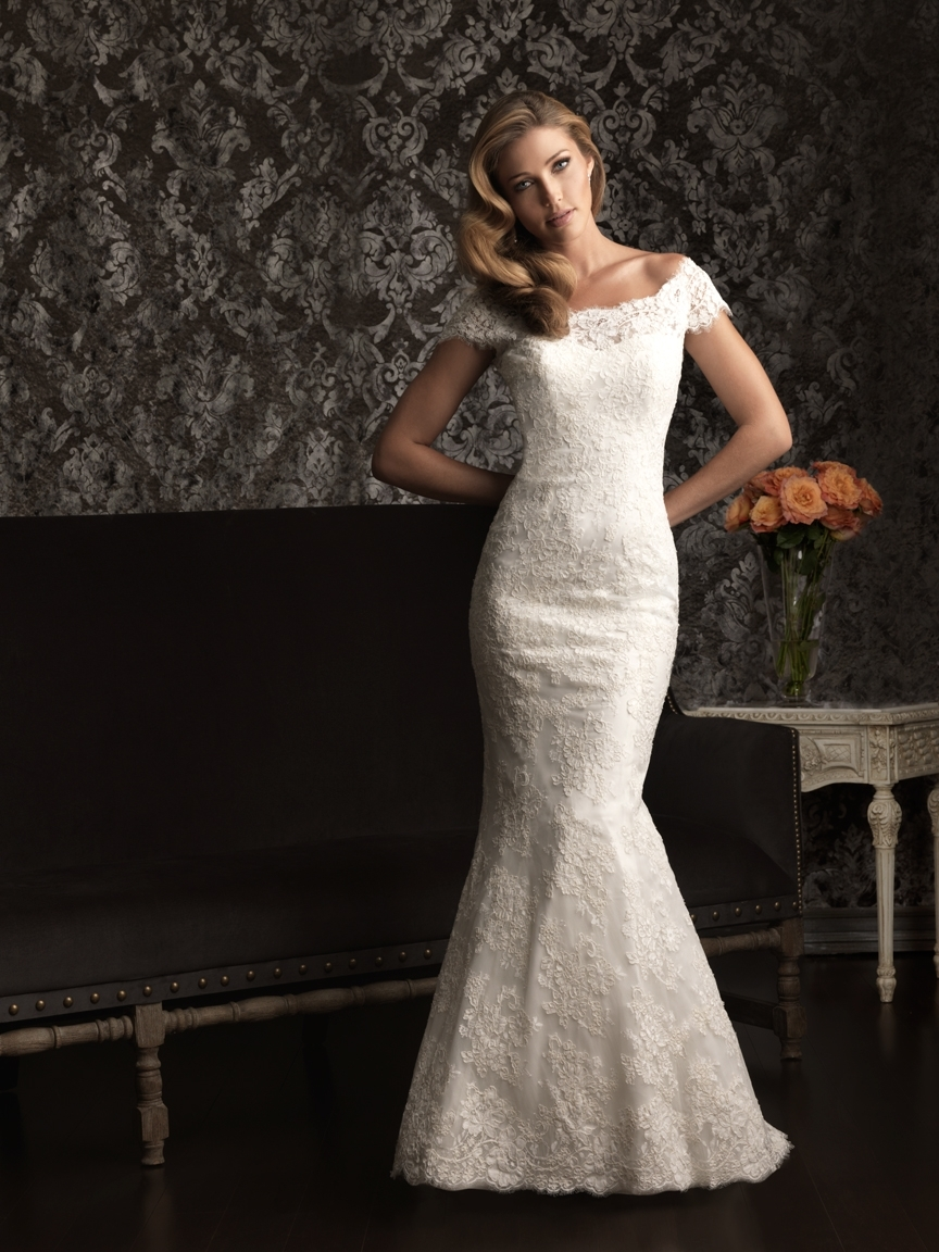 gorgeous 2013 wedding dress by Allure bridal gowns lace off the shoulder