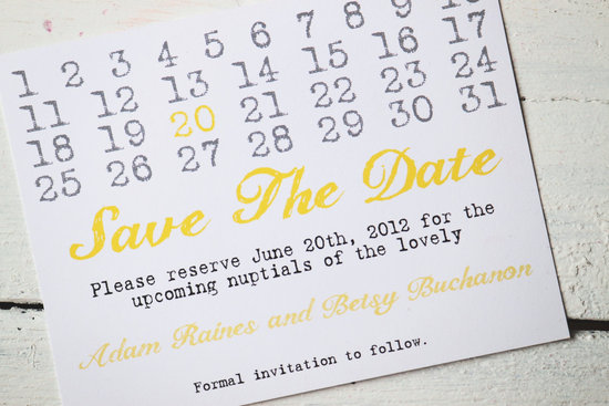 unique wedding save the dates calendar design Invitations on Etsy yellow gray