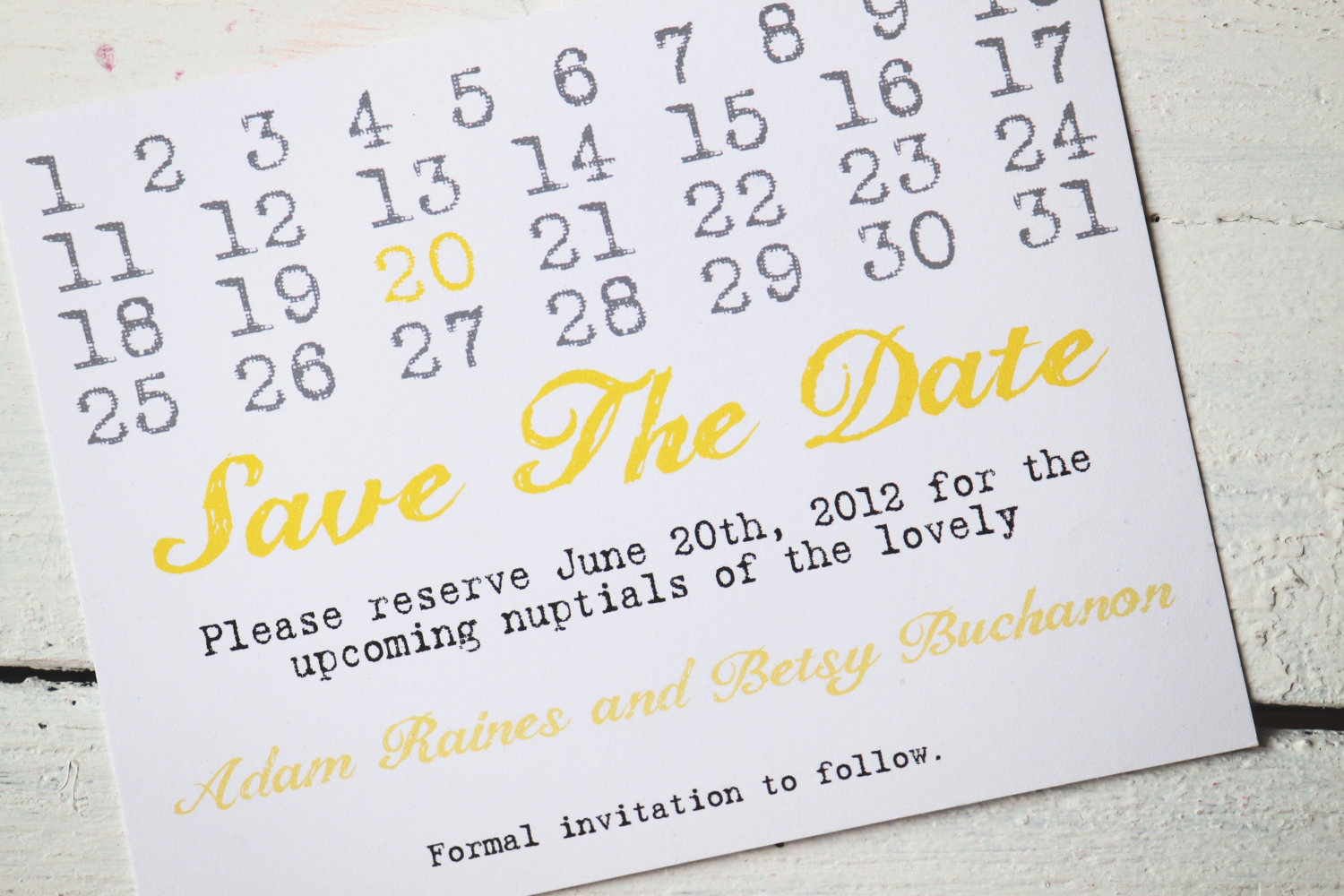 Matching Save The Date And Wedding Invitations: Unique Wedding Save The Dates Calendar Design Invitations