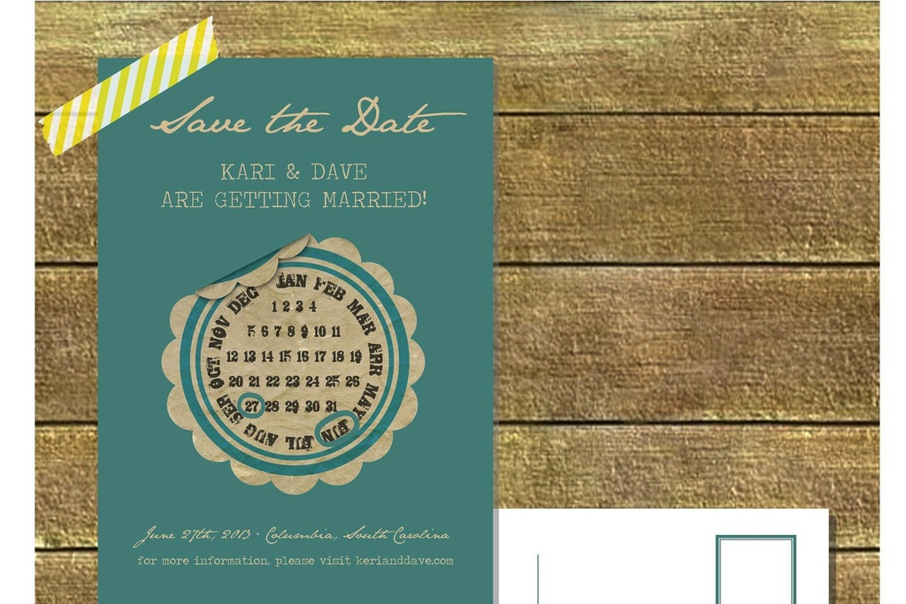 unique wedding save the dates calendar design Invitations on Etsy vintage turquoise