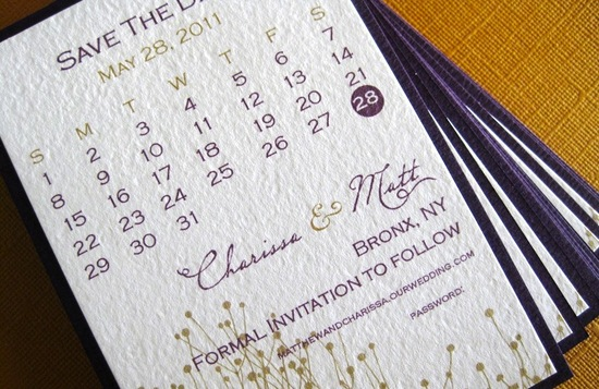 unique wedding save the dates calendar design Invitations on Etsy elegant purple gold