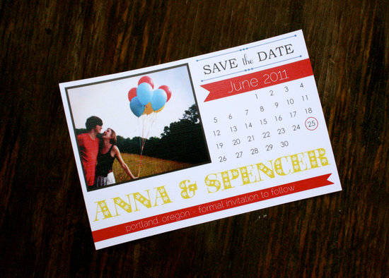 unique wedding save the dates calendar design Invitations on Etsy red yellow whimsical