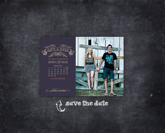 unique wedding save the dates calendar design Invitations on Etsy vintage chalkboard