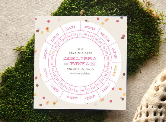 unique wedding save the dates calendar design Invitations on Etsy confetti design