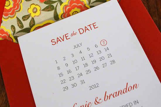 unique wedding save the dates calendar design Invitations on Etsy red white yellow