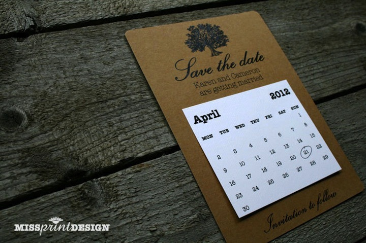 unique wedding save the dates calendar design Invitations on Etsy 4