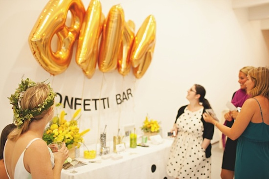 modern wedding reception decor inspiration gold confetti bar