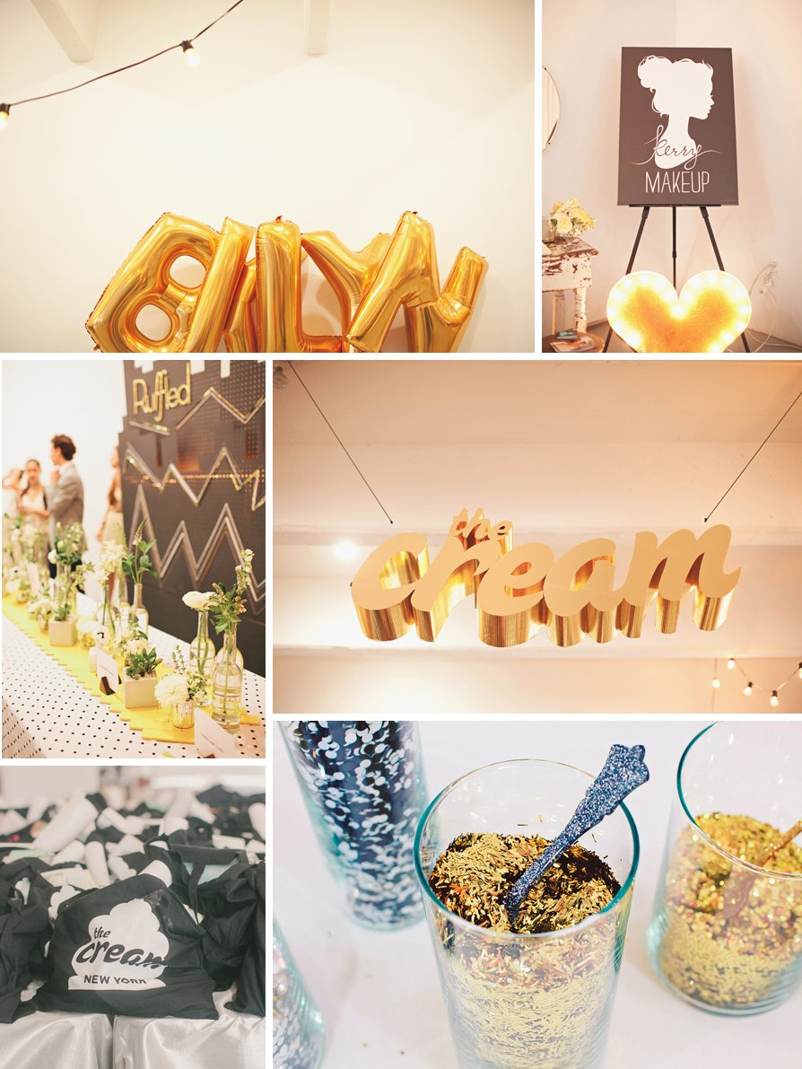 Downtown chic wedding reception decor inspiration- gold balloons with lots of sparkle