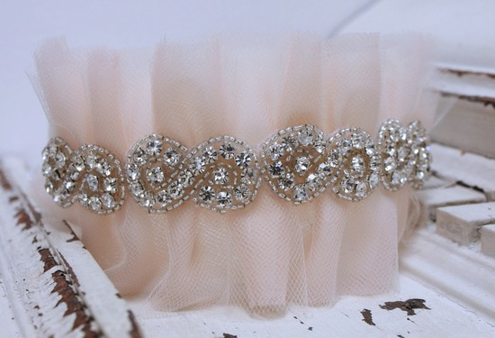 tulle wedding accessories for romantic brides from Etsy pastel peach garter