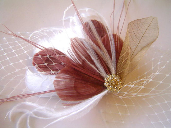 mauve wedding pretties feather fascinator for brides