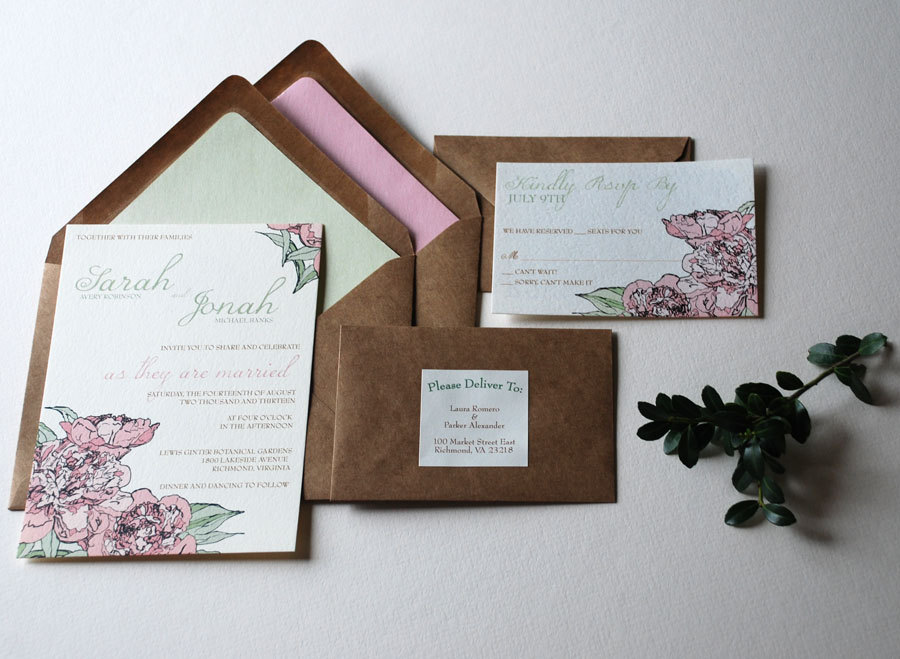 romantic wedding color inspiration soft mauve from Etsy elegant invitations