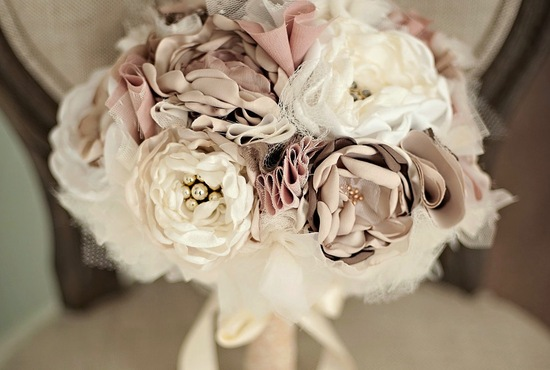 romantic wedding color inspiration soft mauve from Etsy romantic fabric bouquet 1