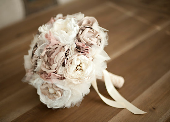 romantic wedding color inspiration soft mauve from Etsy romantic fabric bouquet 2