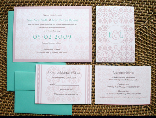 romantic wedding color inspiration soft mauve from Etsy aqua mauve invitations
