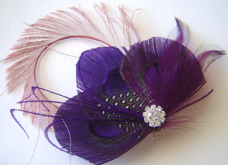 Romantic-wedding-colors-mauve-purple-feather-fascinator.full