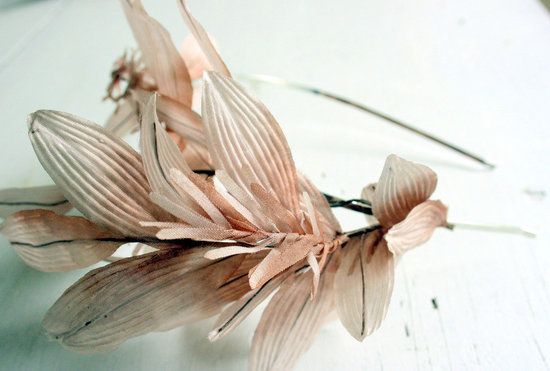 romantic wedding color inspiration soft mauve from Etsy handmade headband