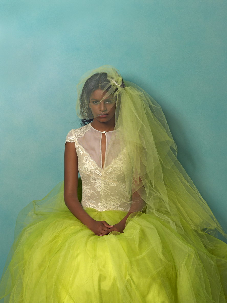 Wedding Dresses With Pops Of Color Lace With Lime Green
