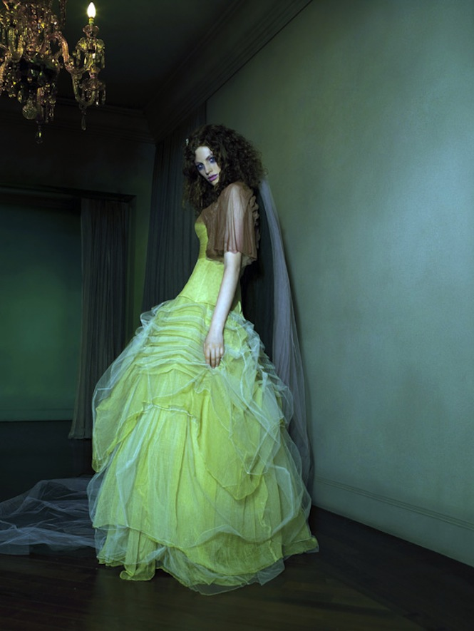 Colored Wedding Dresses Muted Lime Green Bridal Gown