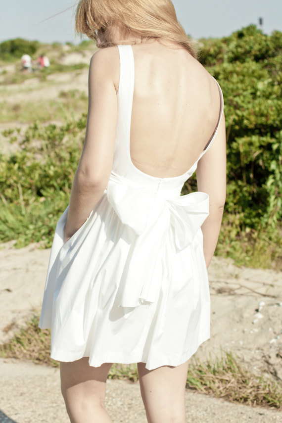 photo of Low Back White Cotton Dress with Pockets by LanaStepul on Etsy, $250