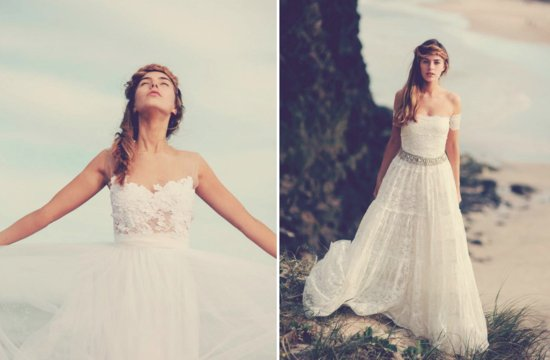 Bohemian bride on the beach lace wedding gown.