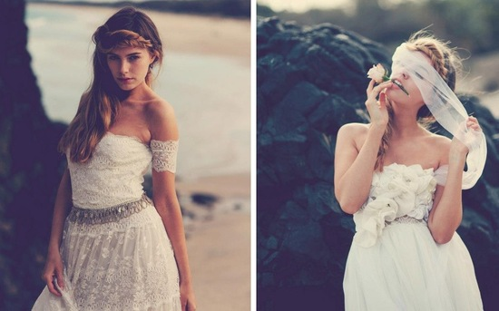 Bohemian bride in lace wedding dress beach inspiration.