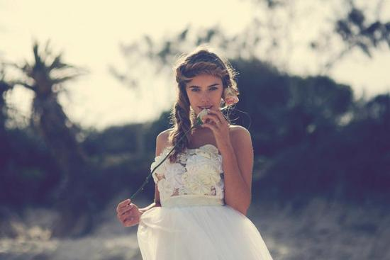 Bohemian bride at a beach wedding bridal gown beauty inspiration.