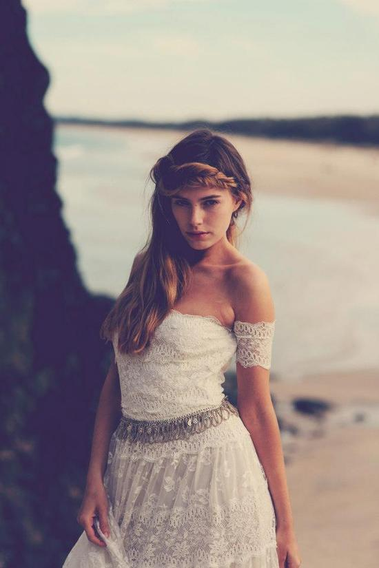 photo of bohemian bride at a beach wedding bridal gown beauty inspiration 2