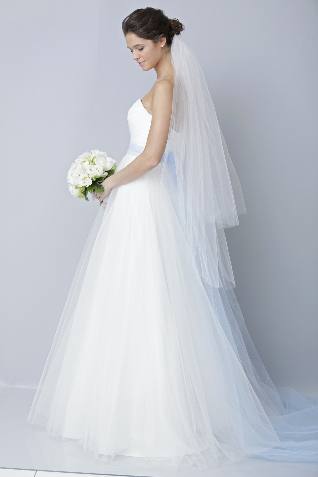 2013 wedding dress by Theia bridal gowns tulle sky blue sash B