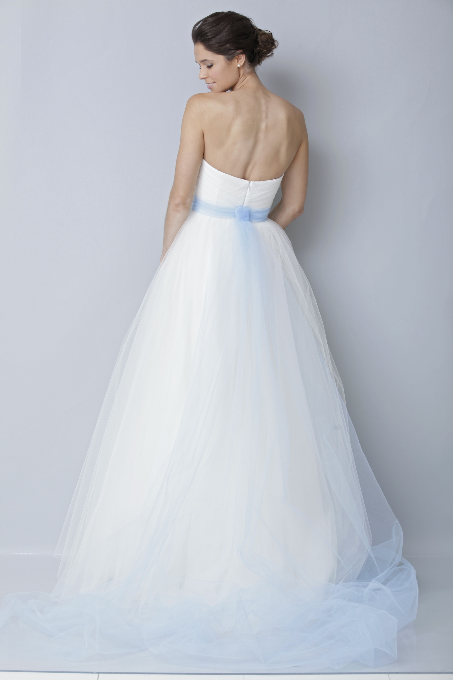 2013 wedding dress by theia bridal gowns tulle sky blue for Blue sash for wedding dress