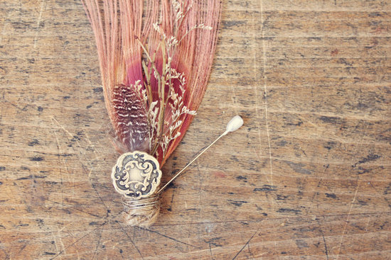 unique boutonnieres for grooms handmade weddings by Etsy vintage coral