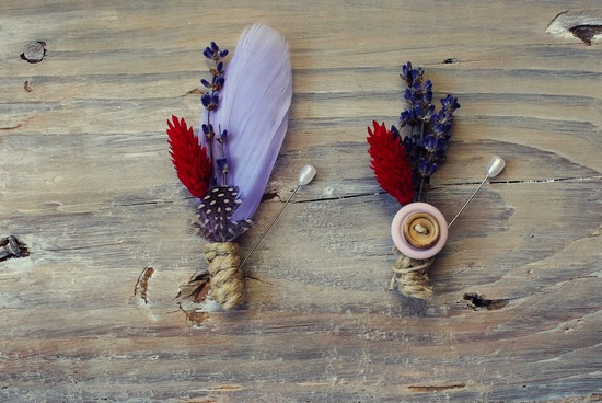 unique boutonnieres for grooms handmade weddings by Etsy lavender red