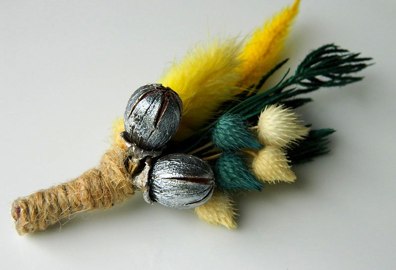 unique boutonnieres for grooms handmade weddings by Etsy yellow teal