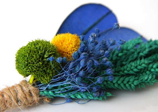 unique boutonnieres for grooms handmade weddings by Etsy blue green