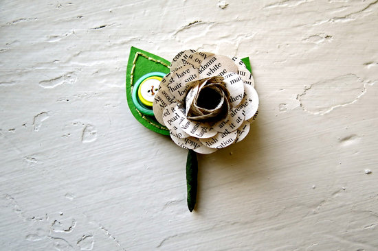 unique boutonnieres for grooms handmade weddings by Etsy recycled newspaper