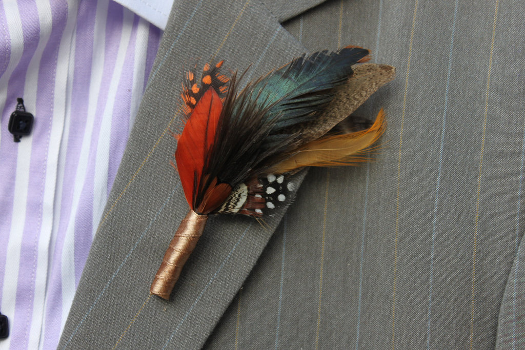 unique boutonnieres for grooms handmade weddings by Etsy fall feathers
