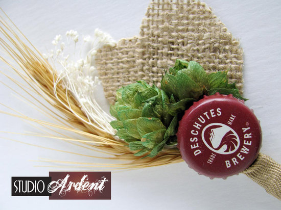 unique boutonnieres for grooms handmade weddings by Etsy burlap and beer