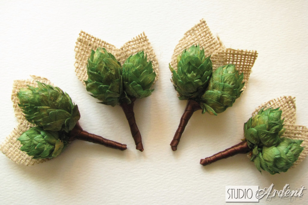 unique boutonnieres for grooms handmade weddings by Etsy burlap greenery