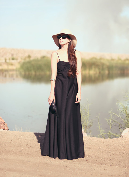 chic black bridesmaid dress long draped 2
