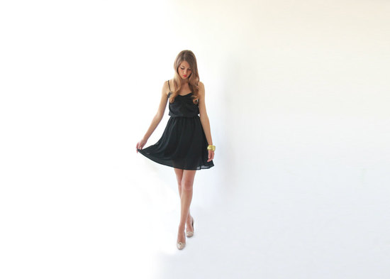 simple black bridesmaid dress spaghetti straps