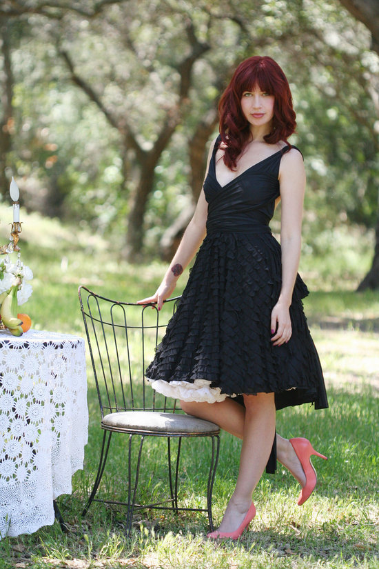 black bridesmaid dress v neck ruffle skirt