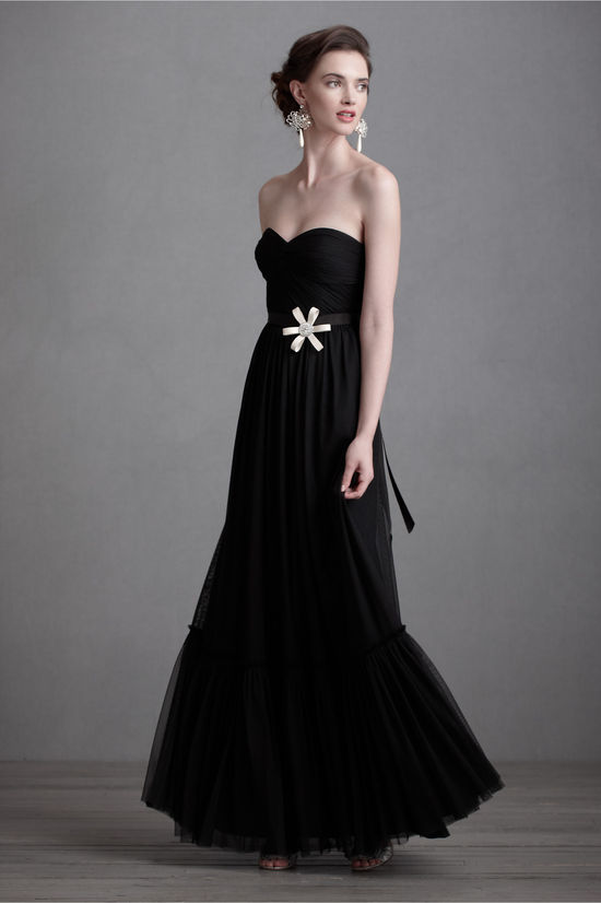 black bridesmaid dresses for downtown chic weddings BHLDN