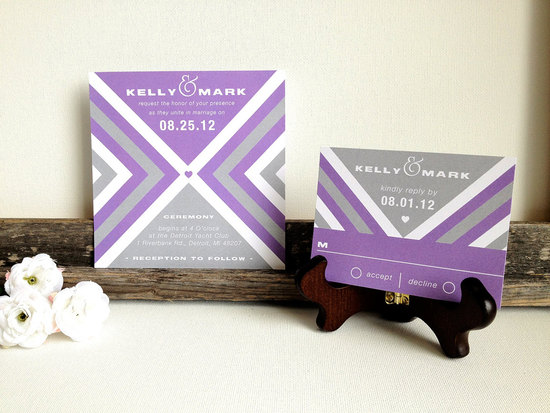 wedding invitations for modern weddings Etsy wedding finds purple gray chevron