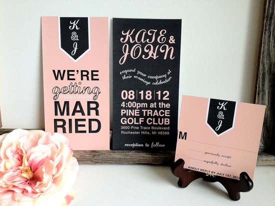 wedding invitations for modern weddings Etsy wedding finds coral black