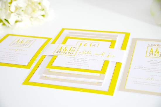 wedding invitations for modern weddings Etsy wedding finds lemon yellow beige