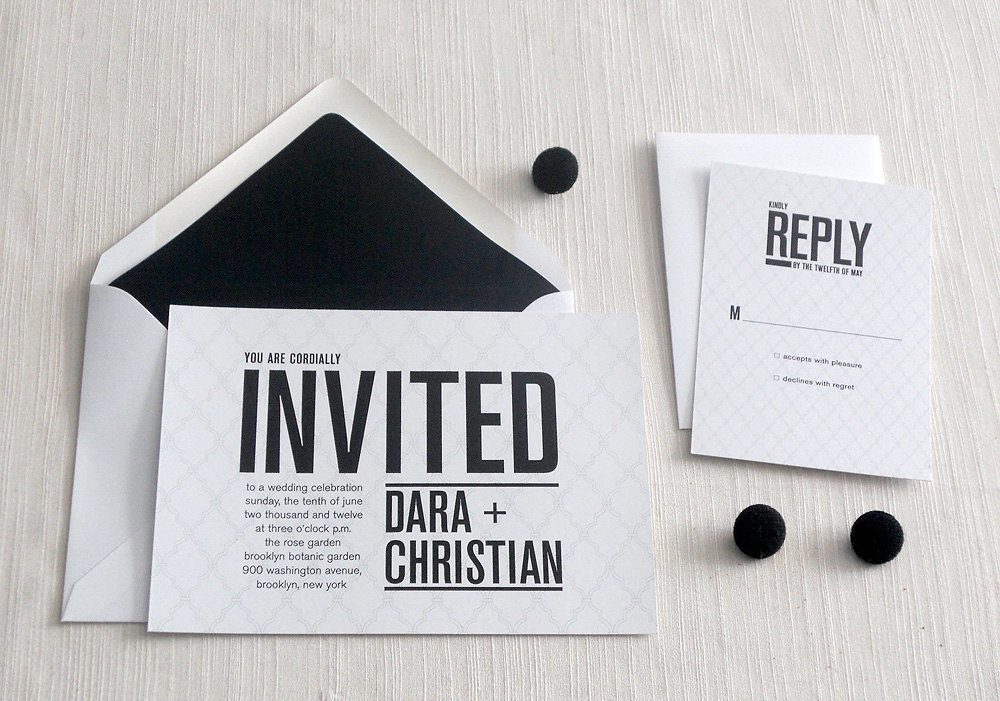 invitations for modern weddings Etsy wedding finds black white chic – Black and White Wedding Invites