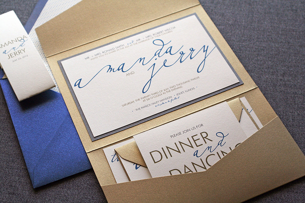 wedding invitations for modern weddings Etsy wedding finds gold blue