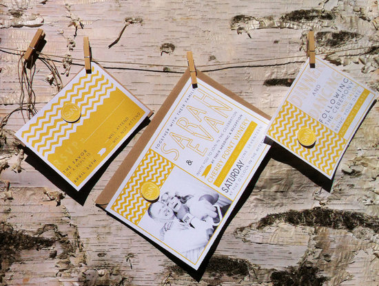 wedding invitations for modern weddings Etsy wedding finds yellow chevron